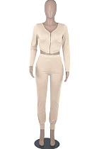 Khaki Womwn Autumn Long Sleeve V Collar Zipper Pure Color Sexy Bodycon Pants Sets FMM2051-6
