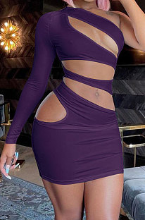 Purple Women One Shoulder Pure Color Hollw Out Single Sleeve High Waist Sexy Bodycon Hip Mini Dress FMM2093-4