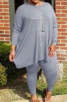 Gray Big Yards Hot Drilling Print Loose Long Sleeve T-Shirts Pencil Pants Fat Woman Sets WA77275-4