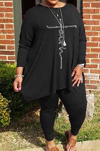 Black Big Yards Hot Drilling Print Loose Long Sleeve T-Shirts Pencil Pants Fat Woman Sets WA77275-2
