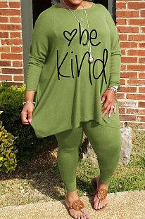 Green Big Yards Letter Print Loose Long Sleeve T-Shirts Pencil Pants Casual Sets WA77271-1