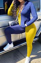 Purple Yellow Cotton Blend Spliced Long Sleeve Stand Neck Zip Front Top Pencil Pants Sport Sets XMC6066-8