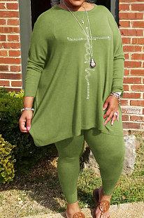 Green Big Yards Hot Drilling Print Loose Long Sleeve T-Shirts Pencil Pants Fat Woman Sets WA77275-3