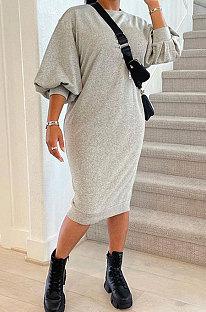Gray Women Fashion Casual Pure Color Loose Midi Dress GLS10031-1