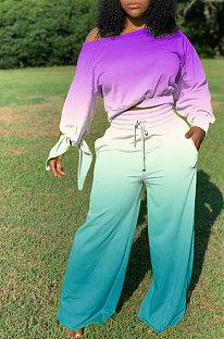 Pureple Blue Newest Gradient Long Sleeve Loose Top Wide Leg Pants Casual Sets XMC6050-1