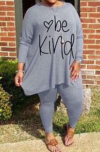 Gray Big Yards Letter Print Loose Long Sleeve T-Shirts Pencil Pants Casual Sets WA77271-4
