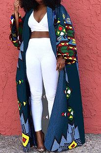 Blue Women Fashion Joket Long Cardigan Loose Printing Jacket Plus Size Tops DY69431-4
