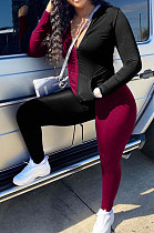 Black Red Cotton Blend Spliced Long Sleeve Stand Neck Zip Front Top Pencil Pants Sport Sets XMC6066-2