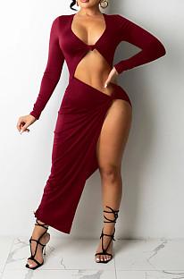 Wine Red Euramerican Women Solid Color Long Sleeve Crop High Split High Waist Long Dress FMM2081-2