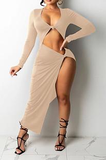 Khaki Euramerican Women Solid Color Long Sleeve Crop High Split High Waist Long Dress FMM2081-5