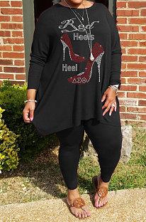 Black Big Yards Hot Drilling Print Loose Long Sleeve T-Shirts Pencil Pants Fat Woman Sets WA77278-2