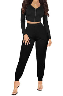 Black Womwn Autumn Long Sleeve V Collar Zipper Pure Color Sexy Bodycon Pants Sets FMM2051-2