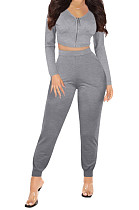 Gray Womwn Autumn Long Sleeve V Collar Zipper Pure Color Sexy Bodycon Pants Sets FMM2051-1