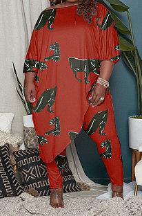 Wine Red Euramerican Fashion Women Loose Oblique Shoulder Plus Pants Sets AYM5033-1