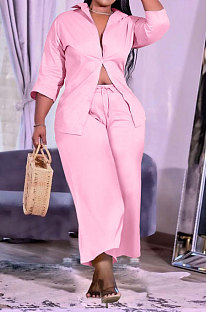 Pink Women Euramerican Trendy Pure Color Sexy Cardigan Single-Breasted With Pocket Plus Pants Sets AYM5032-1