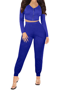 Bright Blue Womwn Autumn Long Sleeve V Collar Zipper Pure Color Sexy Bodycon Pants Sets FMM2051-5