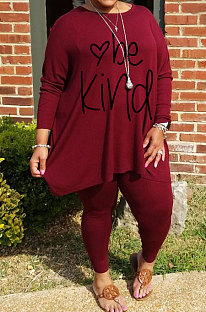 Wine Red Big Yards Letter Print Loose Long Sleeve T-Shirts Pencil Pants Casual Sets WA77271-3