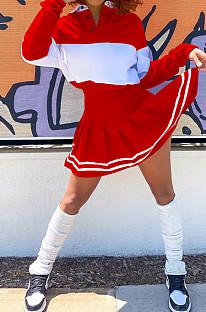 Red Preppy Newest Spliced Long Sleeve Lepal Neck Top Side Strip Mini Skirts Sport Sets SZS8165-1