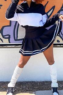 Black Preppy Newest Spliced Long Sleeve Lepal Neck Top Side Strip Mini Skirts Sport Sets SZS8165-2