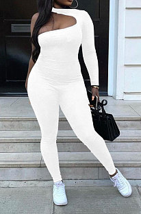 White Women Long Sleeve One Shoulder Solid Color Sexy Bodycon Jumpsuits QMX1012-1