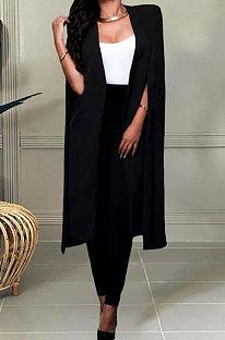 Black Wholesale Elegant Long Cape Coat Pencil Pant Fashion Solid Color Sets TK6198-4