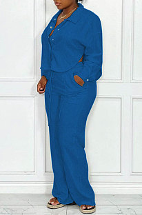 Blue Women Fashion Solid Color Turn-DownCollar Cardigan Single-Breasted Pants Sets QHH8664-3