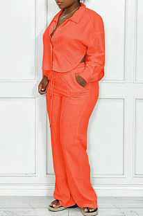Orange Women Fashion Solid Color Turn-DownCollar Cardigan Single-Breasted Pants Sets QHH8664-1