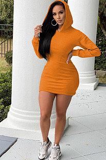 Orange Wholesale WoMen Long Sleeve Hooded Sport Casual  Mini Dress QSS51048-4