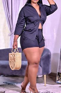 Drak Blue Wholesale Woman Long Sleeve Lapel Neck Single-Breasted Shirt Shorts Solid Color Two-Piece TZ1204-3