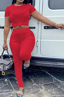 Red Women Shirred Detail Pure Color Short Sleeve T Shirt Bodycon Pants Sets AL153-5