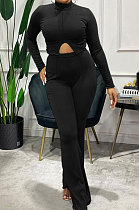 Black Simple Pure Color Long Sleeve  High Neck Slit Top Flare Pants Slim Fitting Sets XMC6078-3