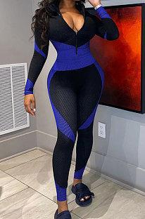 Blue Black Digital Print Contrast Color Long Sleeve Zip Front Collect Waist Bodycon Jumpsuits XMC8085-3