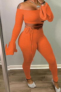 Orange Women A Word Shoulder Ruffle Sleeve Sexy Bandage Hollow Out Pants Sets HZF57809-1