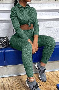 Green Wholesale Simple Long Sleeve Hoodie Pancil Pants Sport Sets XMY076-2