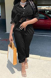 Balck Euramerican Women Corduroy Solid Color Button Tied Turn-DownCollar Cardigan Pants Sets QMQ7066-3