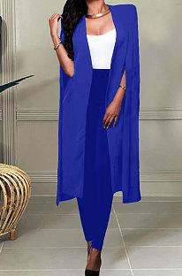 Blue Wholesale Elegant Long Cape Coat Pencil Pant Fashion Solid Color Sets TK6198-1
