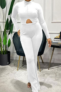 White Simple Pure Color Long Sleeve  High Neck Slit Top Flare Pants Slim Fitting Sets XMC6078-1