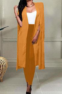 Orange Yellow Wholesale Elegant Long Cape Coat Pencil Pant Fashion Solid Color Sets TK6198-2