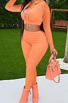 Orange Cotton Blend Long Sleeve Zip Front Coat Pencil Pants Solid Color Sport Sets XMY072-5