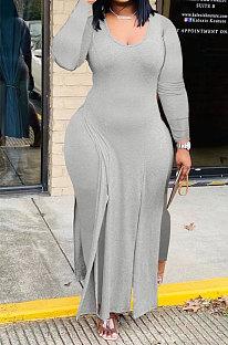 Gray Cotton Blend Long Sleeve Irregularity V Neck Top Bodycon Pants Sets YFS10023-2