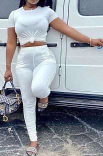 White Women Shirred Detail Pure Color Short Sleeve T Shirt Bodycon Pants Sets AL153-2