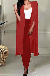Red Wholesale Elegant Long Cape Coat Pencil Pant Fashion Solid Color Sets TK6198-3