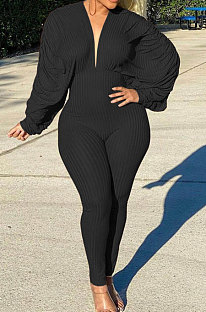 Black Autumn Winter Ruffle Loose Sleeve Sexy Ribber Pure Color Bodycon Jumpsuits QHH8665-2