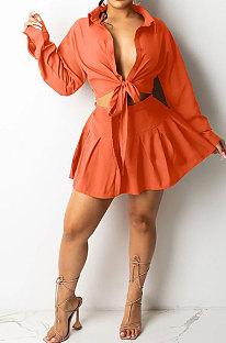 Orange Women Long Sleeve Cardigan Turn-DownCollar Fashion Sexy Ruffle Skirts Sets SMY81112-1