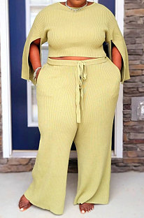 Yellow Fat Woman New Slit Sleeve Round Neck Top Wide Leg Pants Solid Color Sets SY8824-5