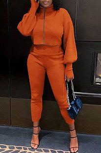 Orange Women Long Sleeve Zipper Pure Color Bodycon Pants Sets QMQ7064-1