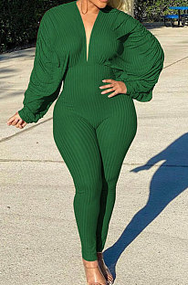 Army Green Autumn Winter Ruffle Loose Sleeve Sexy Ribber Pure Color Bodycon Jumpsuits QHH8665-3