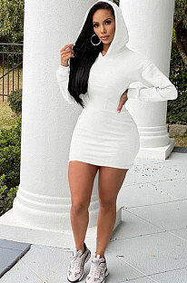 White Wholesale WoMen Long Sleeve Hooded Sport Casual  Mini Dress QSS51048-3