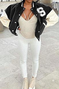 Black Autumn Winter Women Euramerican Fashion Cardigan Printing Ribber Coat SMY81116-3