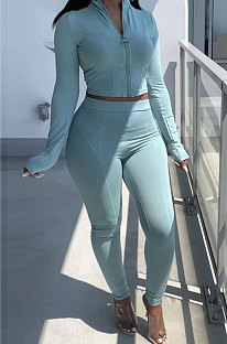 Light Blue Newest Simple Long Sleeve Zip Front Coat Bodycon Pants Solid Color Sets ARM8307-1